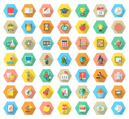 学校教科活動教育と長い影とカラフルな六角形の科学記号のモダンなフラット ベクトルのアイコンのセットです。Web サイト、携帯電話やコンピュー  イラスト・ベクター素材