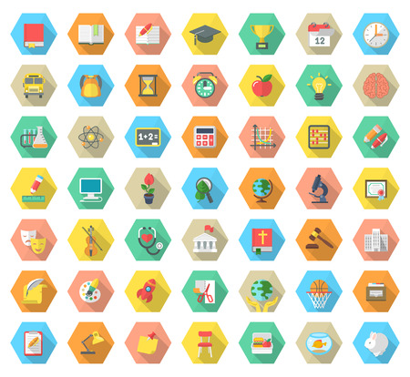 Set of modern flat vector icons of school subjects activities education and science symbols in colorful hexagons with long shadows. Concepts for web site mobile or computer apps infographics