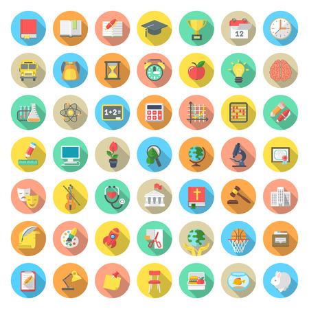 Conjunto de modernos iconos vectoriales redondas planas de los símbolos de educación y ciencias actividades asignaturas escolares en los círculos de colores con largas sombras. Conceptos para el móvil o página web Aplicaciones Informáticas infografía Ilustración de vector