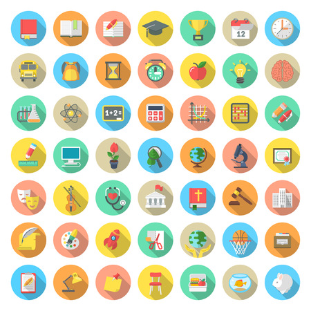 Set of modern flat round vector icons of school subjects activities education and science symbols in colorful circles with long shadows. Concepts for web site mobile or computer apps infographics
