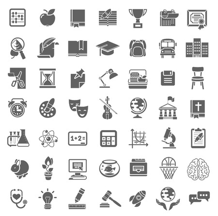 Set of plain monochrome silhouette vector icons of school subjects education and science symbols