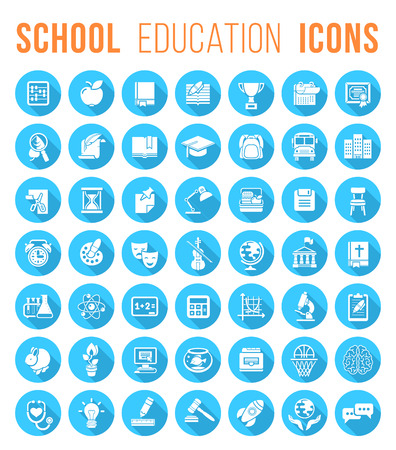 school schedule: Set of blue round flat monochrome silhouette vector icons of school subjects education and science symbols.