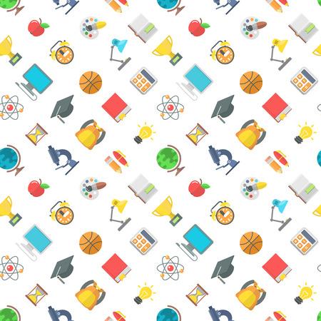 モダンなフラット ベクトル学校アイコンと教育記号のシームレスなパターン。学用品とオブジェクトの白い部分に散在しています。包装紙デザイン