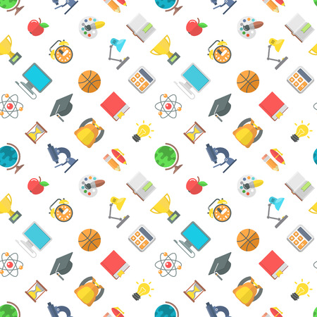 scholar: Modern flat vector seamless pattern of school icons and education symbols. School supplies and objects scattered on the white area. Educational background wrapping paper design website backdrop Illustration