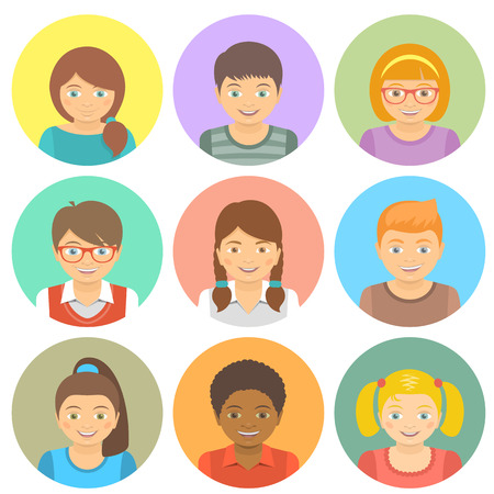 Set of modern flat stylized vector avatars of different happy smiling kids in colored circles. Round portraits of boys and girls of different races.  イラスト・ベクター素材