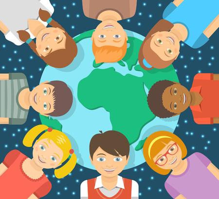 ni�os de diferentes razas: Vector ilustraci�n plana cuadrada conceptual moderna de los ni�os de diferentes razas alrededor de la Tierra en frente del cielo estrellado. La amistad de la ni�ez en todo el mundo. Sonre�r ni�os felices