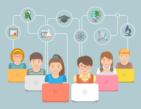 Ilustración de vector conceptual plano moderno del grupo de niños con cuadernos e iconos de educación. Concepto de tecnología innovadora de educación en Internet. Programa en línea de educación temprana. Concepto de e-learning