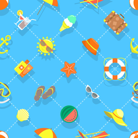 plage: Seamless vector pattern for the summer background with beach objects in flat style. Sea relax icons scattered on a blue backdrop. Web site background book cover printing on fabric wallpaper design