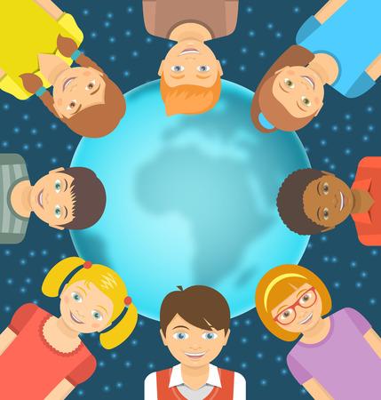 niños de diferentes razas: Vector de ilustración conceptual plana de los niños de diferentes razas alrededor de la Tierra en frente de cielo estrellado. La amistad de la niñez en todo el mundo. Sonreír niños felices en el globo borrosa, con copia espacio para el texto