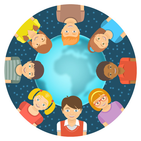 Flat vector conceptual illustration of children of different races around the Earth in front of starry sky. Childhood friendship worldwide. Smiling happy kids on blurred globe with copy space for text Vector