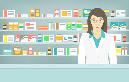 medicine: Modern flat vector illustration of a smiling young attractive female pharmacist at the counter in a pharmacy opposite of shelves with medicines. Health care conceptual background
