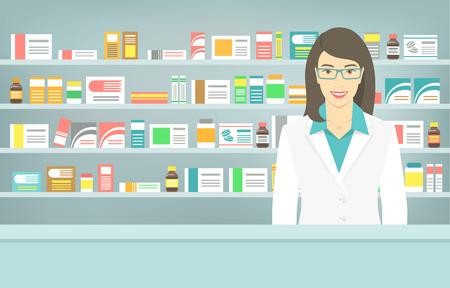 Moderne flat vector illustratie van een glimlachende jonge aantrekkelijke vrouwelijke apotheker aan de balie in een apotheek tegenovergestelde van planken met geneesmiddelen. Gezondheidszorg conceptuele achtergrond Stock Illustratie