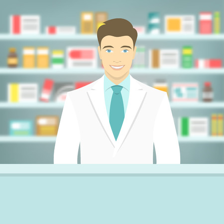 farmacia: Ilustración vectorial Moderno piso de un farmacéutico de sexo masculino atractivo joven y sonriente en el mostrador de una farmacia frente de estantes con medicamentos. La asistencia sanitaria fondo borroso conceptual