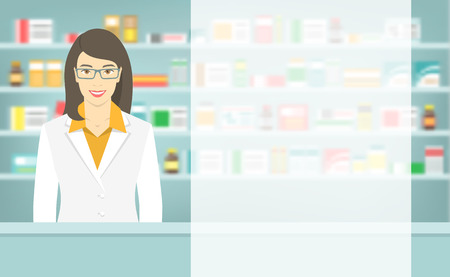 Modern flat vector illustration of a smiling young attractive female pharmacist at the counter in a pharmacy opposite of shelves with medicines. Health care conceptual background with space for text