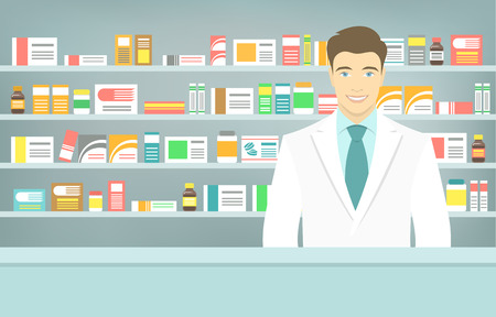 pharmacy store: Modern flat vector illustration of a smiling young attractive male pharmacist at the counter in a pharmacy opposite of shelves with medicines. Health care conceptual background