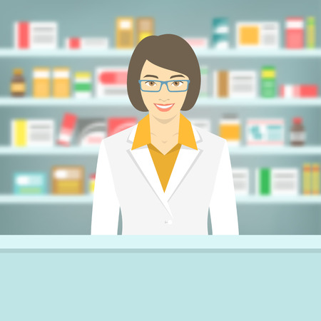 Modern flat vector illustration of a smiling young attractive female pharmacist at the counter in a pharmacy opposite of shelves with medicines. Health care conceptual blurred background