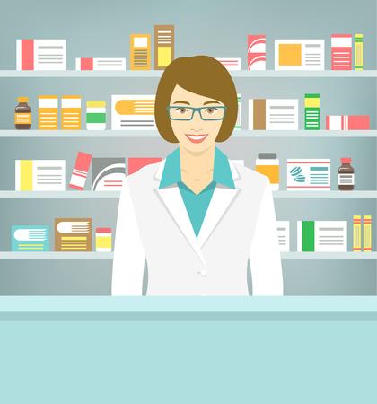 Ilustración vectorial Moderno piso de un joven farmacéutico de sexo femenino atractiva sonrisa en el mostrador de una farmacia frente de estantes con medicamentos. La atención de salud base conceptual