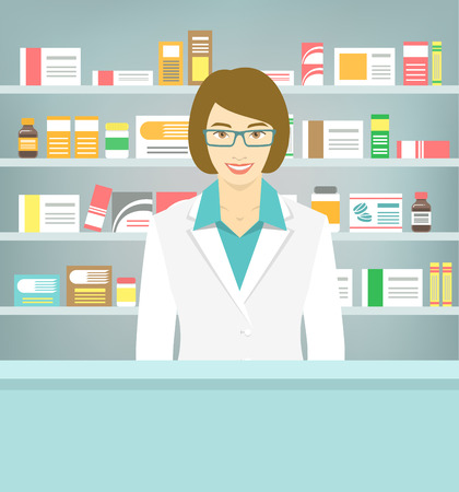 Modern flat vector illustration of a smiling young attractive female pharmacist at the counter in a pharmacy opposite of shelves with medicines. Health care conceptual background