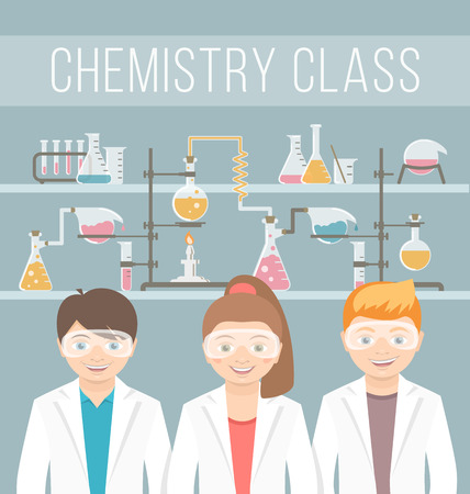 Modern flat vector illustration of smiling kids group of boys and girls in lab coats and safety glasses opposite the chemical flasks bulbs test tubes etc. School chemistry class education concept