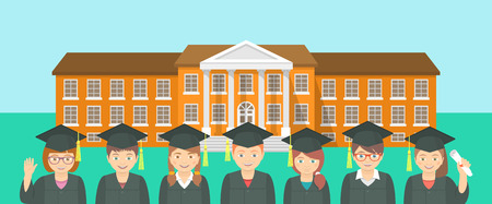 graduation ceremony: Vector flat horizontal illustration of group of kids in graduation gowns and caps opposite school building. Education conceptual background. Header banner design element Illustration