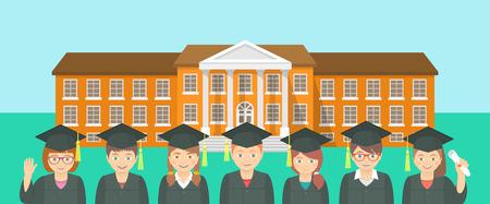 graduacion caricatura: Vector plana horizontal ilustración de un grupo de niños en vestidos de graduación y las tapas opuestas edificio de la escuela. Educación fondo conceptual. Cabecera bandera elemento de diseño