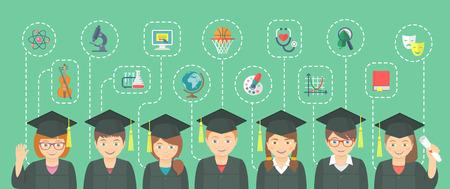 ベクトル異なる学校の科目と科学のアイコンと卒業式ガウンとキャップで子供たちのグループの平らな横のイラスト。教育インフォ グラフィックの  イラスト・ベクター素材