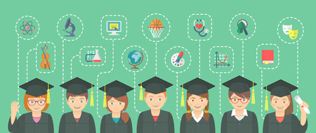 Vector flat horizontal illustration of group of kids in graduation gowns and caps with icons of different school subjects and sciences. Education infographics conceptual element. Header banner design