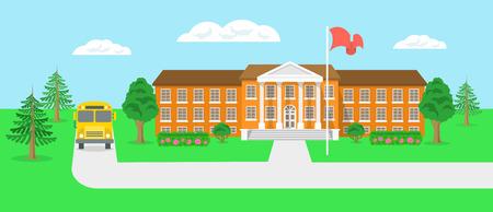 Ilustración vectorial plana moderna del edificio de la escuela y el patio con árboles verdes arbustos flores abetos carretera y autobús escolar. Panorama educativo banner horizontal para el sitio web
