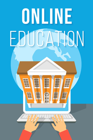 Modern flat vector conceptual illustration of online education using computer. Internet courses and elearning training by laptop concept with human hands globe and school building