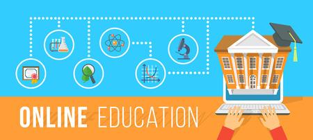 Vector plana horizontal ilustración conceptual moderna de la educación en línea usando la computadora. Cursos de Internet y la formación e-learning por la computadora portátil. Elemento de Infographics con manos de hombre y los iconos de la escuela Ilustración de vector