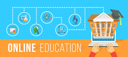 aprendizaje: Vector plana horizontal ilustración conceptual moderna de la educación en línea usando la computadora. Cursos de Internet y la formación e-learning por la computadora portátil. Elemento de Infographics con manos de hombre y los iconos de la escuela Vectores