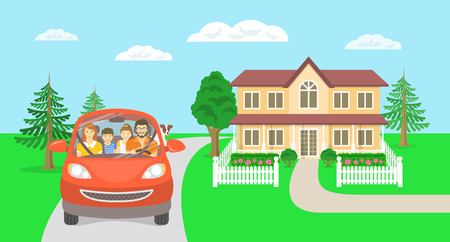 urban parenting: Modern flat vector illustration of happy smiling family on background of country house. Husband driving car with wife, son, daughter and dog on way to summer vacations. Horizontal casual landscape
