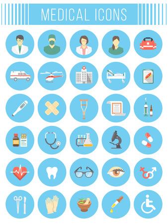 ambulancia: Conjunto de iconos vectoriales plana relacionados con la materia de la medicina, primeros auxilios, transporte de un paciente, la atenci�n de salud, seguros, asistencia m�dica, medicinas y personal del hospital. S�mbolos circulares conceptuales Vectores