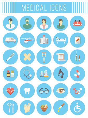 Set of vector flat icons related to subject of medicine, first aid, transportation of a patient, health care, insurance, medical treatment, medicines and hospital personnel. Conceptual round symbols