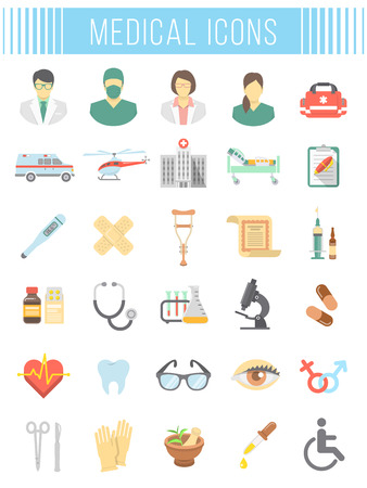 patient care: Set of vector flat icons related to subject of medicine, first aid, transportation of patient, health care, insurance, medical treatment, medicines and hospital personnel. Conceptual  symbols on white Illustration