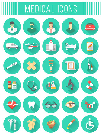 Set of vector flat icons related to subject of medicine, first aid, transportation of patient, health care, insurance, medical treatment, medicines and hospital personnel. Conceptual round symbols