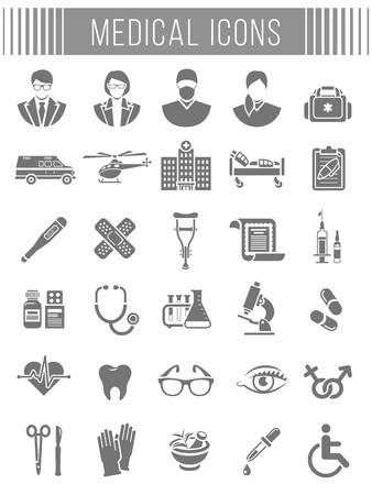 insurance policy: Set of vector flat silhouette icons related to subject of medicine, first aid, patient transportation, health care, insurance, medical treatment, medicines and hospital personnel. Conceptual symbols Illustration