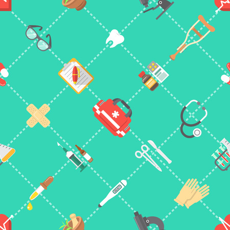 first teeth: Modern flat vector seamless pattern with scattered icons of medicine, first aid, health care, insurance, treatment, medicines and medical equipment. Wrapping paper, wallpaper, website background Illustration