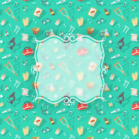 dientes caricatura: Vector de fondo plana moderno con iconos dispersos de la medicina, primeros auxilios, cuidado de la salud, de seguros, de tratamiento y equipos m�dicos con insignia borrosa y copia espacio