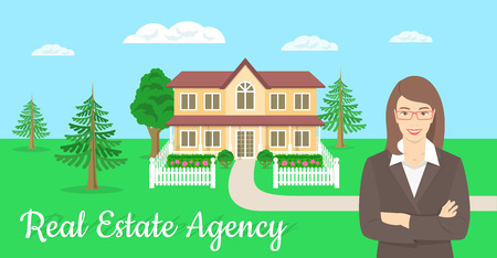 realtor: Vector flat stylized horizontal illustration of a realtor, real estate agent, attractive young smiling woman standing with crossed arms in front of the landscape of a country house. Real estate concept
