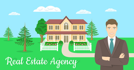 demonstrate: Vector flat stylized horizontal illustration of a realtor, real estate agent, attractive young smiling man standing with crossed arms in front of the landscape of a country house. Real estate concept Illustration
