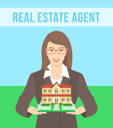 real estate agent: Vector flat stylized illustration of realtor, real estate agent, attractive young smiling woman holding in her hands the model of a house. Real estate concept Illustration