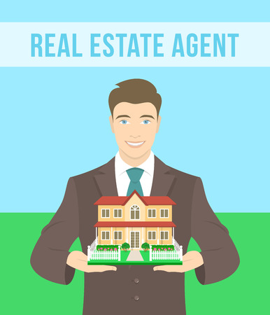 demonstrate: Vector flat stylized illustration of realtor, real estate agent, attractive young smiling man holding in his hands the model of a house. Real estate concept