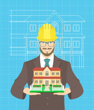 yellow hard hat: Modern flat stylized illustration of young attractive construction manager in business suit and yellow hard hat, holding model of family house.  Blueprint scheme of building project on the background Illustration