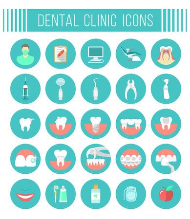 dientes: Conjunto de vector plana iconos conceptuales modernos de servicios dentales de la cl�nica, estomatolog�a, odontolog�a, ortodoncia, cuidado de la salud oral y la higiene, la restauraci�n de los dientes, instrumentos dentales y herramientas Vectores