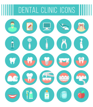care: Set of modern flat vector conceptual icons of dental clinic services, stomatology, dentistry, orthodontics, oral health care and hygiene, tooth restoration, dental instruments and tools