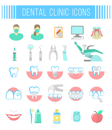 Set of modern flat vector conceptual icons of dental clinic services, stomatology, dentistry, orthodontics, oral health care and hygiene, tooth restoration, dental instruments. Isolated on white Illustration
