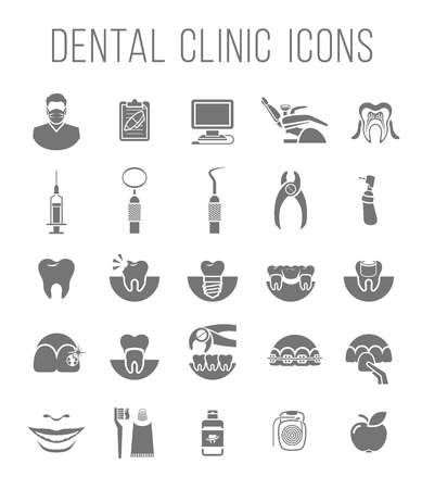Set of modern flat silhouette vector conceptual icons of dental clinic services, stomatology, dentistry, orthodontics, oral health care and hygiene, tooth restoration, dental instruments and tools Ilustração