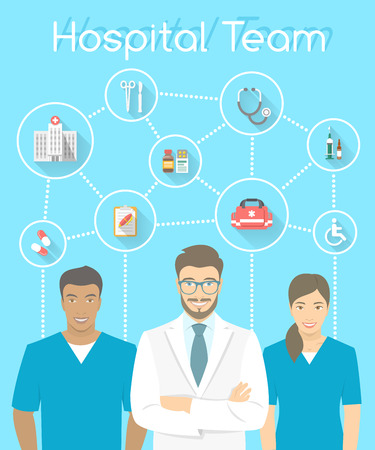 medical man: Modern flat stylized vertical vector illustration of smiling group of multiracial medical clinic personnel, doctor and nurses with medical icons connected by dots. Hospital staff infographics element