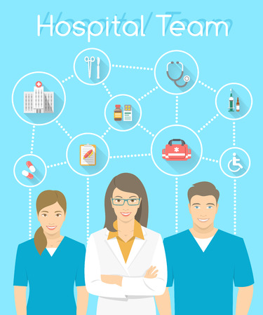 Modern flat stylized vertical vector illustration of smiling group of multiracial medical clinic personnel, doctor and nurses with medical icons connected by dots. Hospital staff infographics element